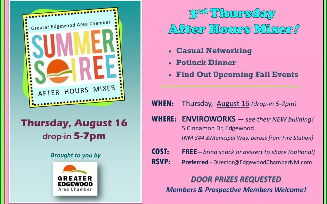 "3rd Thursday ""Summer Soiree"" Evening Mixer – Aug 16"