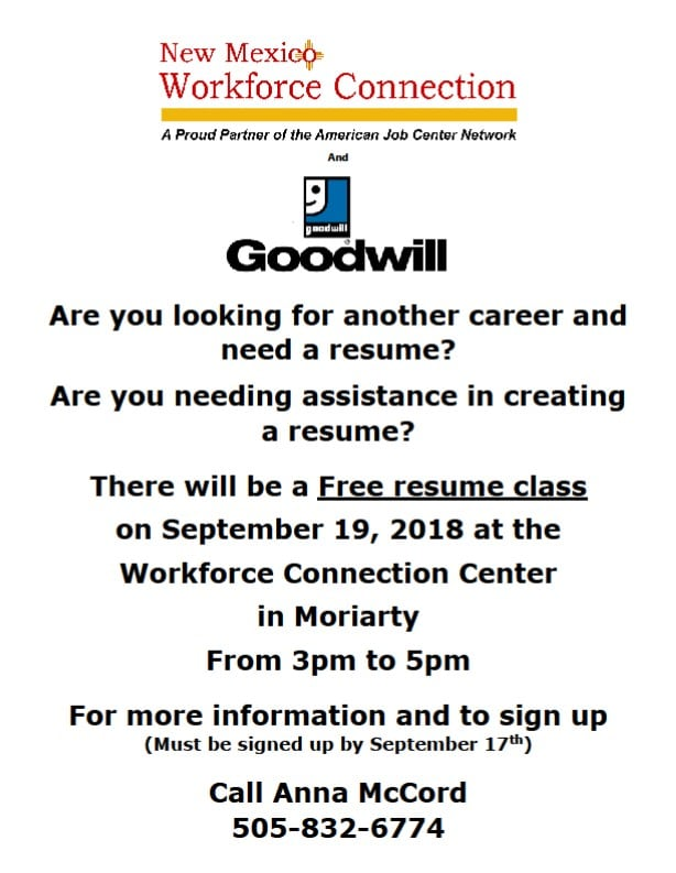 Workforce Connection Resume Writing Assistance Sept 2018