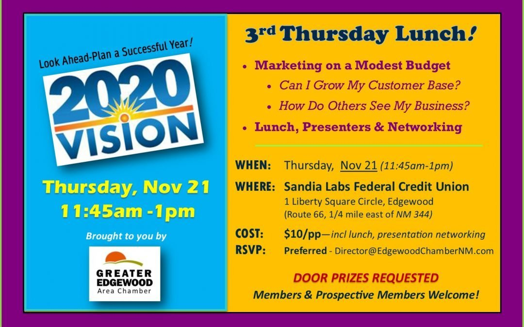 "3rd Thursday Lunch – Nov 21 — ""Marketing on a Modest Budget"""